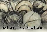 CTJ423 15 inches 12mm faceted round black water jasper beads