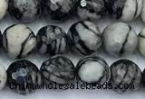 CTJ425 15 inches 6mm faceted round black water jasper beads