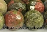 CUG198 15 inches 12mm faceted round unakite beads wholesale