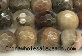 CWJ611 15 inches 6mm faceted round wooden jasper gemstone beads