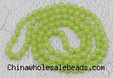 GMN15 Hand-knotted 8mm candy jade 108 beads mala necklaces