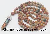 GMN1532 Hand-knotted 8mm, 10mm picasso jasper 108 beads mala necklace with pendant