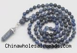 GMN1632 Hand-knotted 6mm sodalite 108 beads mala necklace with pendant