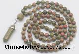 GMN1664 Hand-knotted 6mm unakite 108 beads mala necklaces with pendant