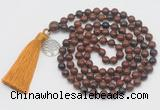 GMN1876 Knotted 8mm, 10mm mahogany obsidian 108 beads mala necklace with tassel & charm