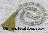 GMN203 Hand-knotted 6mm artistic jasper 108 beads mala necklaces with tassel