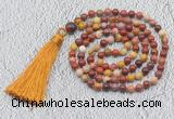 GMN208 Hand-knotted 6mm mookaite 108 beads mala necklaces with tassel