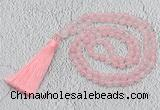 GMN214 Hand-knotted 6mm rose quartz 108 beads mala necklaces with tassel