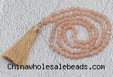 GMN217 Hand-knotted 6mm moonstone 108 beads mala necklaces with tassel