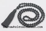 GMN283 Hand-knotted 6mm black onyx 108 beads mala necklaces with tassel
