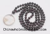 GMN4653 Hand-knotted 8mm, 10mm garnet 108 beads mala necklace with pendant