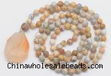 GMN4661 Hand-knotted 8mm, 10mm yellow crazy agate 108 beads mala necklace with pendant