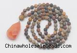 GMN5017 Hand-knotted 8mm, 10mm matte picasso jasper 108 beads mala necklace with pendant