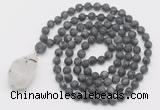 GMN5023 Hand-knotted 8mm, 10mm matte black labradorite 108 beads mala necklace with pendant