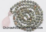GMN5026 Hand-knotted 8mm, 10mm matte rhyolite 108 beads mala necklace with pendant