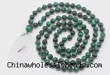 GMN5096 Hand-knotted 8mm, 10mm green tiger eye 108 beads mala necklace with pendant