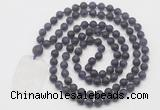 GMN5112 Hand-knotted 8mm, 10mm matte amethyst 108 beads mala necklace with pendant