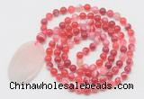 GMN5151 Hand-knotted 8mm, 10mm red banded agate 108 beads mala necklace with pendant