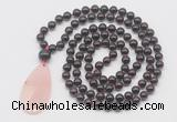 GMN5200 Hand-knotted 8mm, 10mm garnet 108 beads mala necklace with pendant