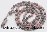 GMN5907 Hand-knotted 6mm matte rhodonite 108 beads mala necklaces with pendant