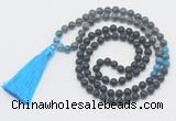 GMN6118 Knotted 8mm, 10mm matte black agate, black labradorite & apatite 108 beads mala necklace with tassel