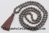 GMN6133 Knotted 8mm, 10mm rainbow labradorite 108 beads mala necklace with tassel