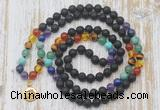 GMN6143 Knotted 7 Chakra 8mm, 10mm black lava 108 beads mala necklace with charm