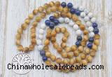 GMN6157 Knotted 8mm, 10mm golden tiger eye, lapis lazuli & matte white howlite 108 beads mala necklace with charm