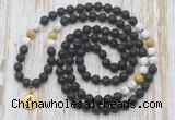 GMN6168 Knotted 8mm, 10mm black lava, matte white howlite & golden tiger eye 108 beads mala necklace with charm