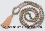 GMN6248 Knotted 8mm, 10mm matte unakite & pink wooden jasper 108 beads mala necklace with tassel
