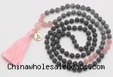 GMN6317 Knotted matte black agate, black labradorite & rose quartz 108 beads mala necklace with tassel & charm