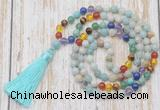 GMN6339 Knotted 7 Chakra 8mm, 10mm amazonite 108 beads mala necklace with tassel