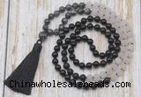GMN6367 Knotted 8mm, 10mm black labradorite, matte rose quartz  & black agate 108 beads mala necklace with tassel