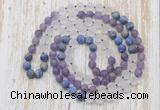 GMN6401 Hand-knotted 8mm, 10mm matte amethyst, white crystal & lapis lazuli 108 beads mala necklaces