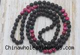 GMN6416 Hand-knotted 8mm, 10mm black lava & red tiger eye 108 beads mala necklaces