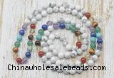 GMN6421 Hand-knotted 7 Chakra 8mm, 10mm white howlite 108 beads mala necklaces