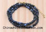 GMN7218 4mm faceted round tiny dumortierite beaded necklace jewelry
