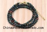 GMN7236 4mm faceted round tiny Indian bloodstone beaded necklace jewelry