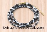 GMN7241 4mm faceted round tiny black & white jasper beaded necklace jewelry