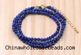 GMN7271 4mm faceted round lapis lazuli beaded necklace jewelry