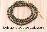 GMN7515 4mm faceted round tiny unakite beaded necklace with letter charm