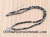 GMN7540 4mm faceted round tiny black water jasper beaded necklace with letter charm