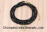 GMN7545 4mm faceted round tiny black onyx beaded necklace with letter charm